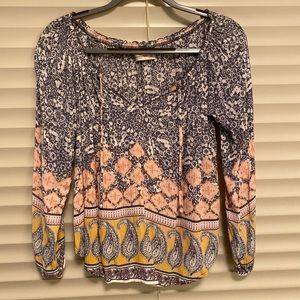 Abercrombie patterned flowy top, size small